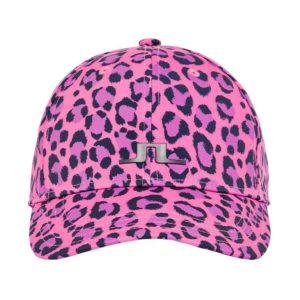 J Lindeberg Ladies Angie Tech Stretch Cap Pink Leopard
