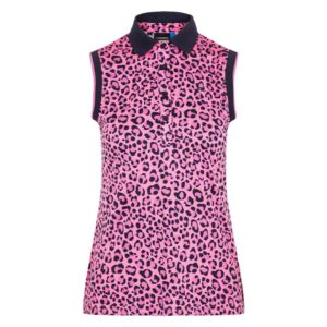 J Lindeberg Lyla Ladies Sleeveless TX Polo Shirt Pink Leopard