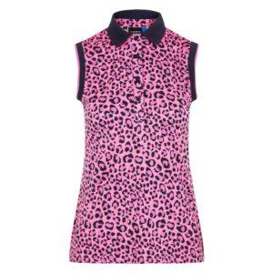J Lindeberg Lyla Ladies Sleeveless TX Polo Shirt Pink Leopard