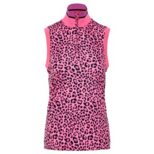 J Lindeberg Audrey Ladies Sleeveless TX Polo Shirt Pink Leopard