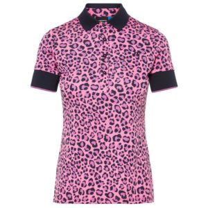 J Lindeberg Lexie Ladies Cool Max TX Polo Shirt Pink Leopard