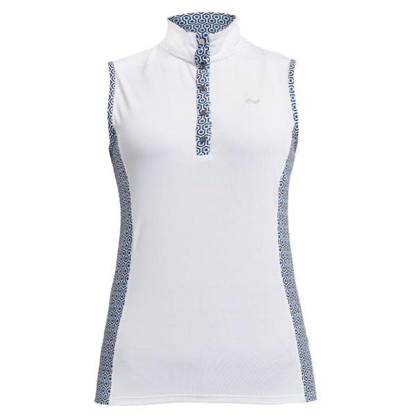 Rohnisch Bliss Sleeveless Polo Shirt Geo Comb Blue