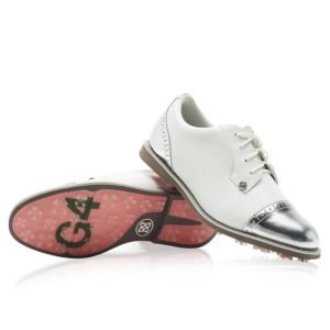G Fore Cap Toe Gallivanter Ladies Golf Shoes Snow/Shark Skin