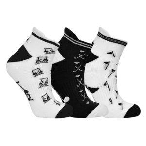 3 Pair Pack Black and White Patterned Ladies Golf Socks