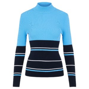 J Lindeberg Berthe Striped Ladies Golf Sweater Navy