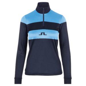 J Lindeberg Rose Jaquard Ladies Mid Layer Ocean Blue