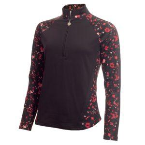 Green Lamb Kalista Zip Neck Ladies Golf Polo Shirt Black Confetti