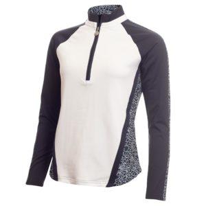 Green Lamb Kalista Zip Neck Ladies Golf Polo Shirt Navy Crackle