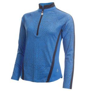 Green Lamb Kalista Zip Neck Ladies Golf Polo Shirt Navy Sky Shard