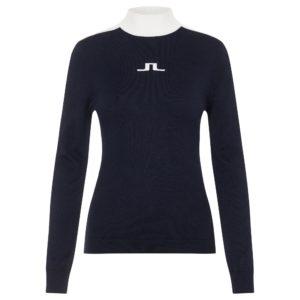 J Lindeberg Adia Turtle Neck Wool Ladies Golf Sweater Navy