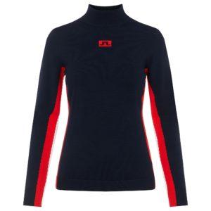 J Lindeberg Kay Knitted Turtle Neck Ladies Golf Sweater Navy