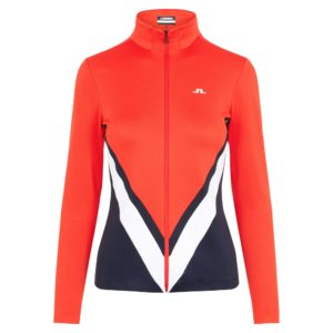 J Lindeberg Shannon Chevron Ladies Golf Mid Layer Racing Red