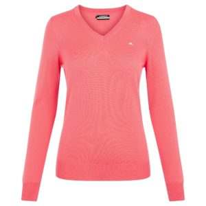 J Lindeberg Amaya V-Neck Merino Wool Ladies Golf Sweater Tropical Coral-L