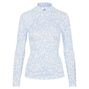 J Lindeberg Asa Print Ladies Golf Soft Compression Top Navy Animal Blue White-L