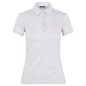 J Lindeberg Alaya Jaquard Ladies Golf Polo Shirt Animal Grey / White-XL