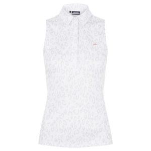 J Lindeberg Dena Print Ladies Sleeveless Golf Polo Shirt Animal Grey / White-XL