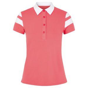 J Lindeberg Pixie Ladies Golf Polo Shirt Tropical Coral / White-XL