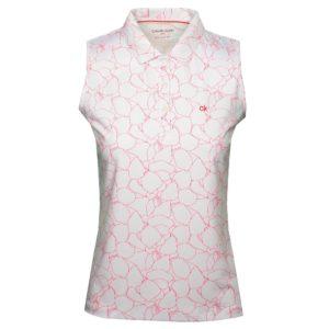 Calvin Klein Avon Ladies Golf Sleeveless Polo Shirt White/Jete-14