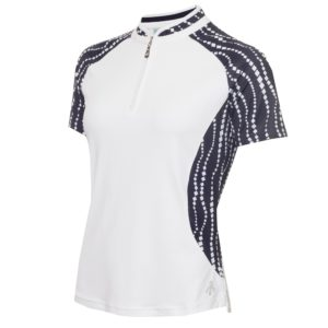 Green Lamb Emily Printed Raglan Sleeveless Ladies Golf Polo Shirt White/Mono-16