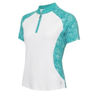 Green Lamb Emily Printed Raglan Sleeveless Ladies Golf Polo Shirt White/Palm-16
