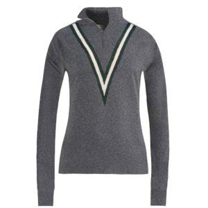 G/Fore Triple V Quarter Zip Ladies Golf Sweater Heather Grey-XL